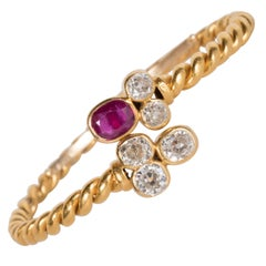 Hand-Wrought 18 Karat Bangle Bracelet with Ruby and Old European Cut Diamonds