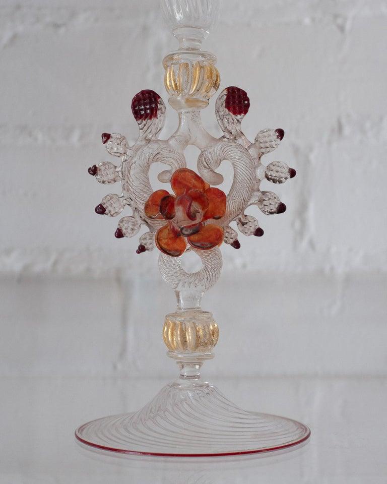Italian Antique Hand Blown Murano Glass Flute For Sale