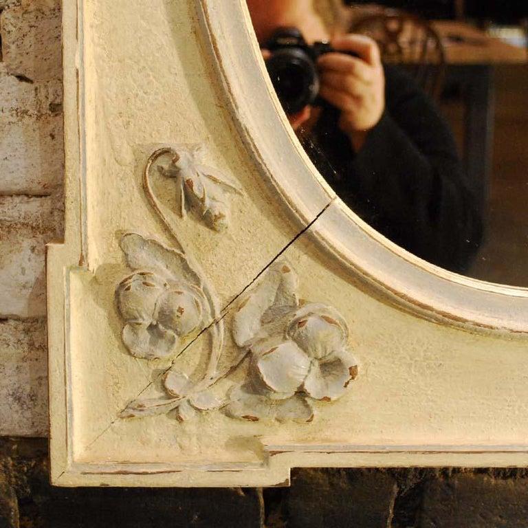 Antique Hand Carved Oak Jugendstil or Art Nouveau Mirror from France In Good Condition For Sale In Casteren, NL