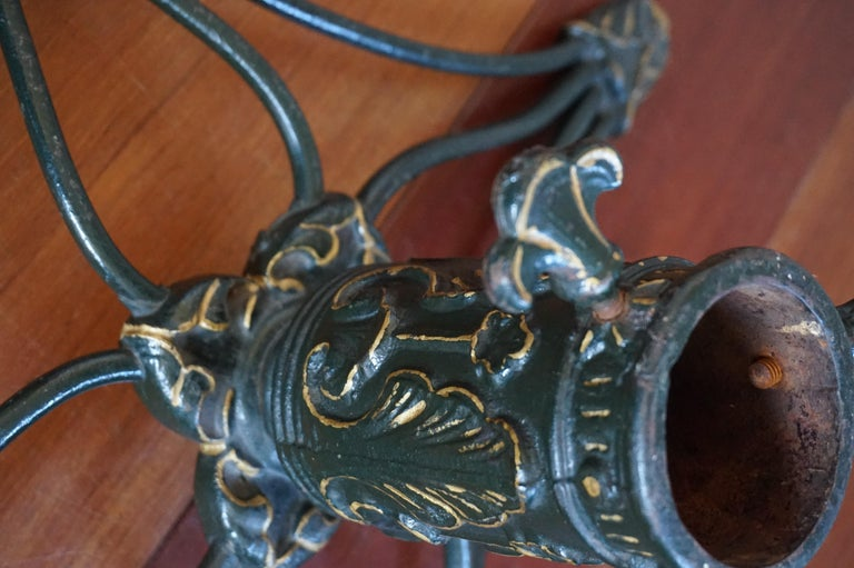 Antique Handcrafted And Hand Painted Arts And Crafts Iron