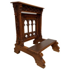 Antique Handcrafted & Carved Oak Gothic Revival Church Prayer Chair for Kneeling
