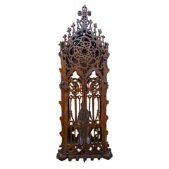 Antique Handcrafted Gothic Revival Wall Shrine/ Chapel with Glass Mary Sculpture