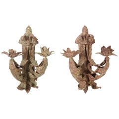 Antique Handcrafted Iron Leaf Sconces, Pair