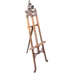 Antique Handcrafted Italian Floor Studio Easel or Artist Painting Display Stand