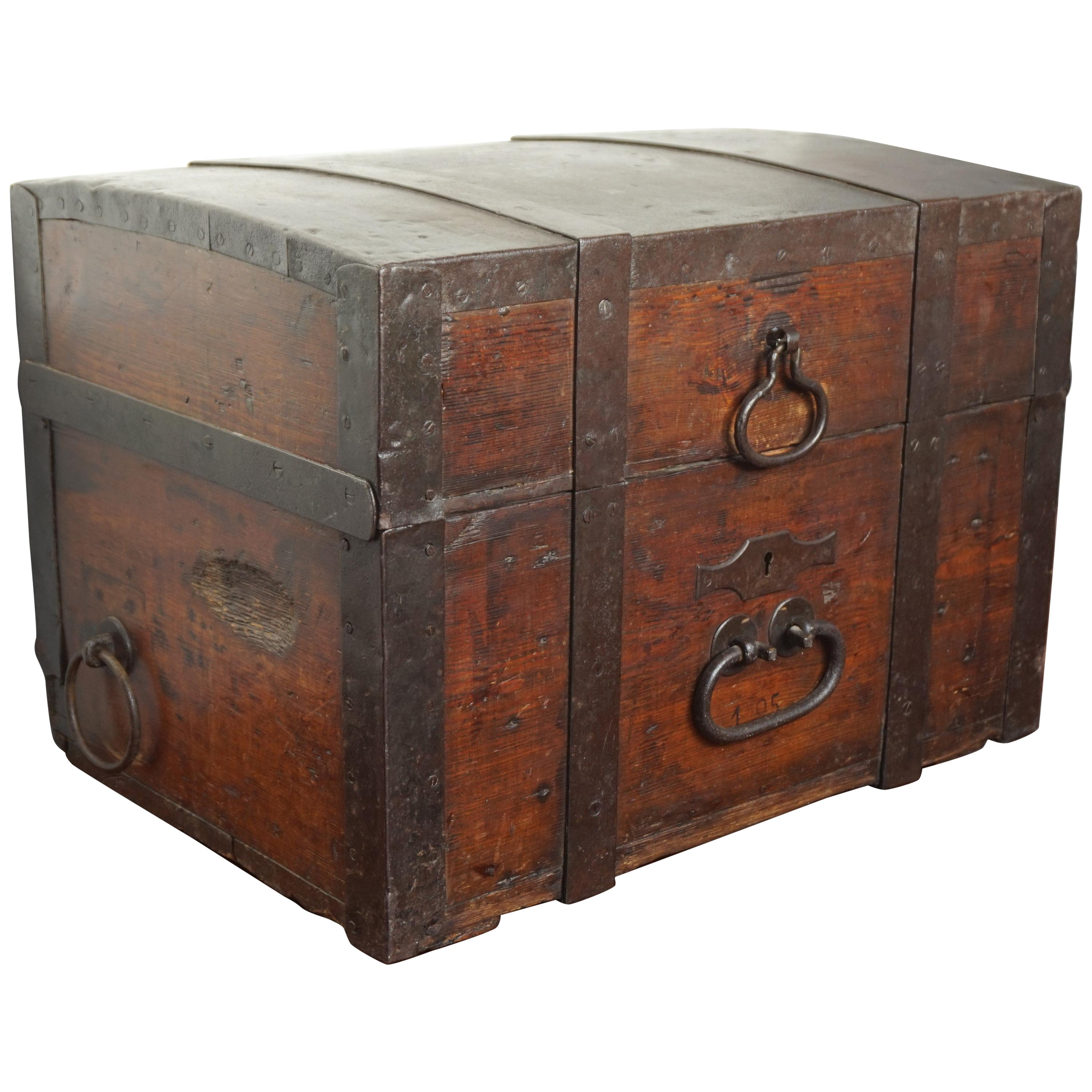 Antique Handcrafted Wooden and Hand Forged Iron Coach / Carriage Strongbox 1800s