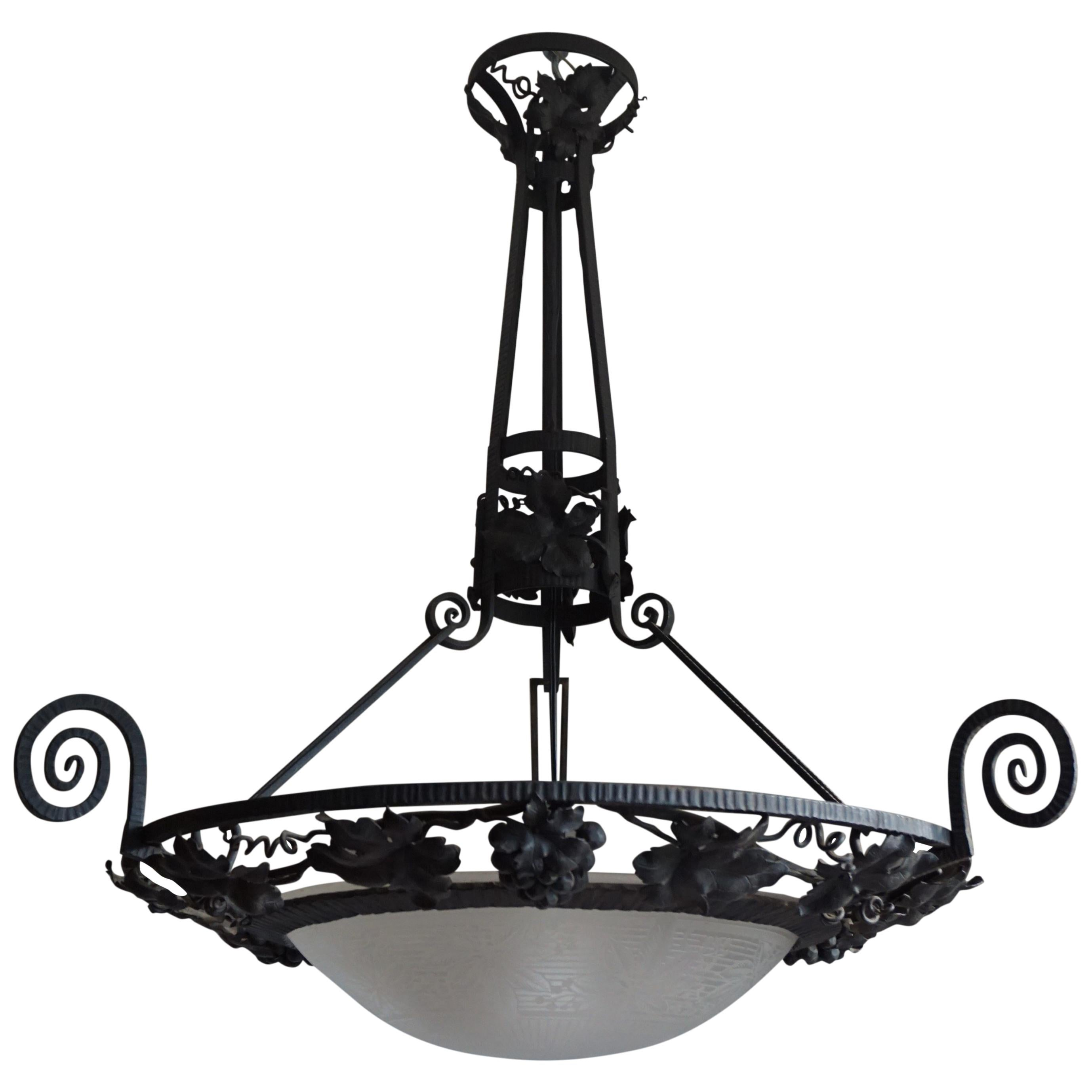 Arts and Crafts Wrought Iron & Glass Wine Theme Chandelier w. Grapes & Leafs