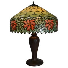 Antique Handel Leaded Stained Glass Table Lamp Poinsettia Designs