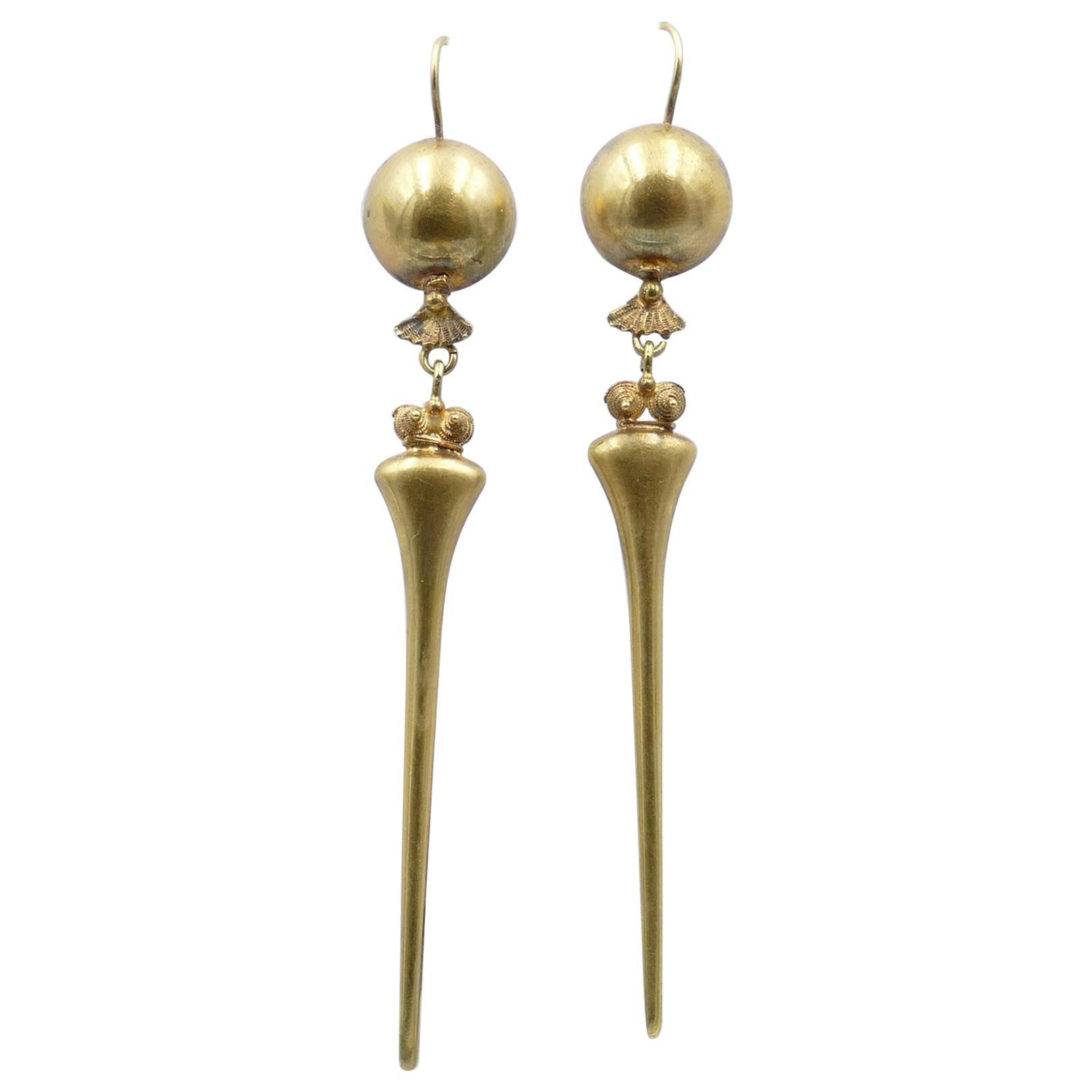 Antique Handmade 9 Carat Yellow Gold Drop Earrings