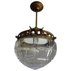 Antique, Handmade Gilt Bronze, Brass and Glass Entry Hall Pendant Light Fixture