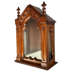 Antique Handmade Gothic Revival Glass and Oak Display Cabinet For a Saint Statue