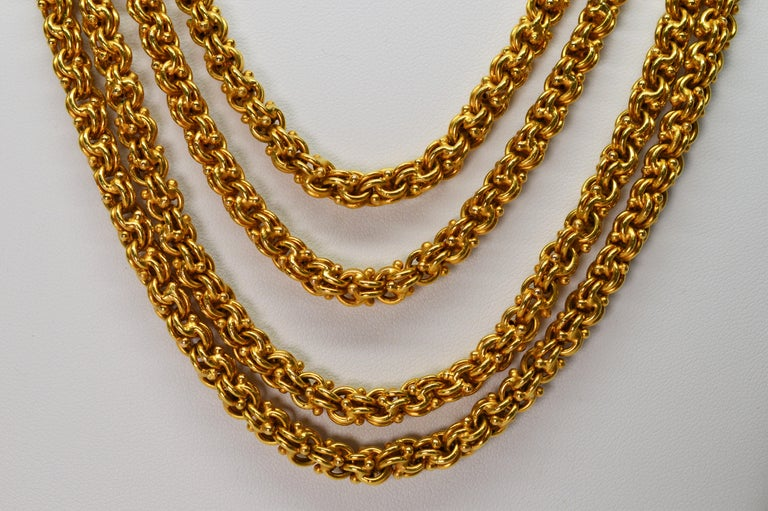 Antique Handmade Long Yellow Gold Double Cable Chain In Excellent Condition For Sale In Mount Kisco, NY