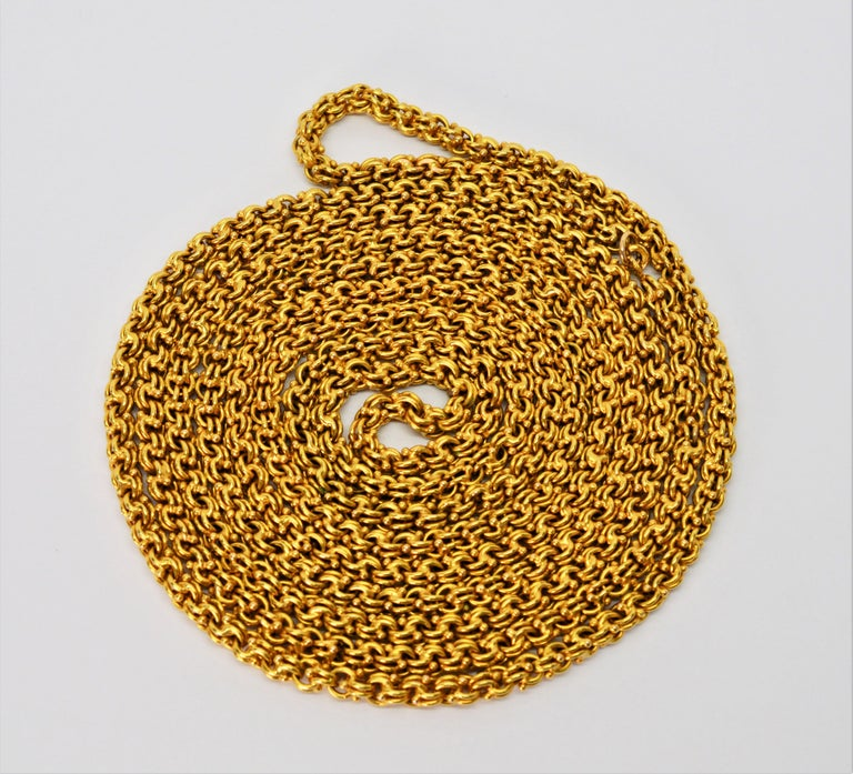 Women's Antique Handmade Long Yellow Gold Double Cable Chain For Sale
