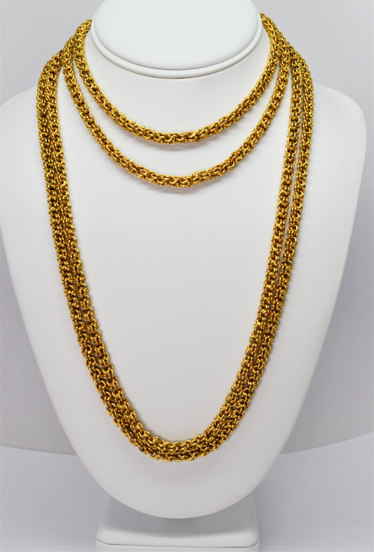 Antique Handmade Long Yellow Gold Double Cable Chain For Sale 1
