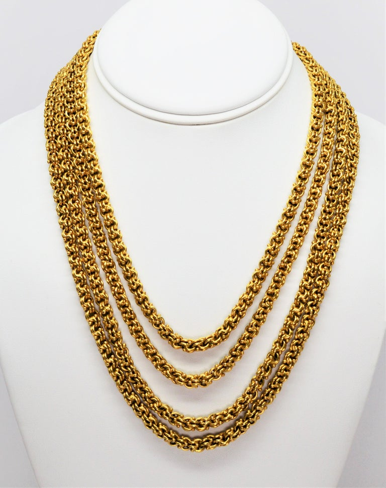 Antique Handmade Long Yellow Gold Double Cable Chain For Sale 3