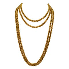 Antique Handmade Long Yellow Gold Double Cable Chain