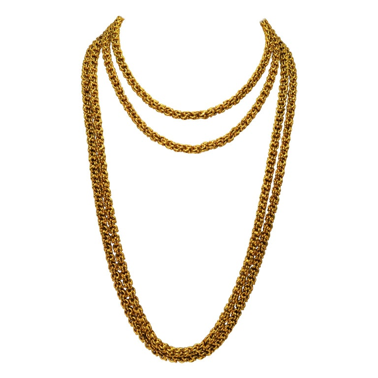 Antique Handmade Long Yellow Gold Double Cable Chain For Sale