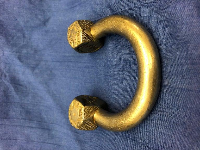 Antique Handmade Moroccan Slave Bracelet, Heavy Etched Silver Melange For Sale 4