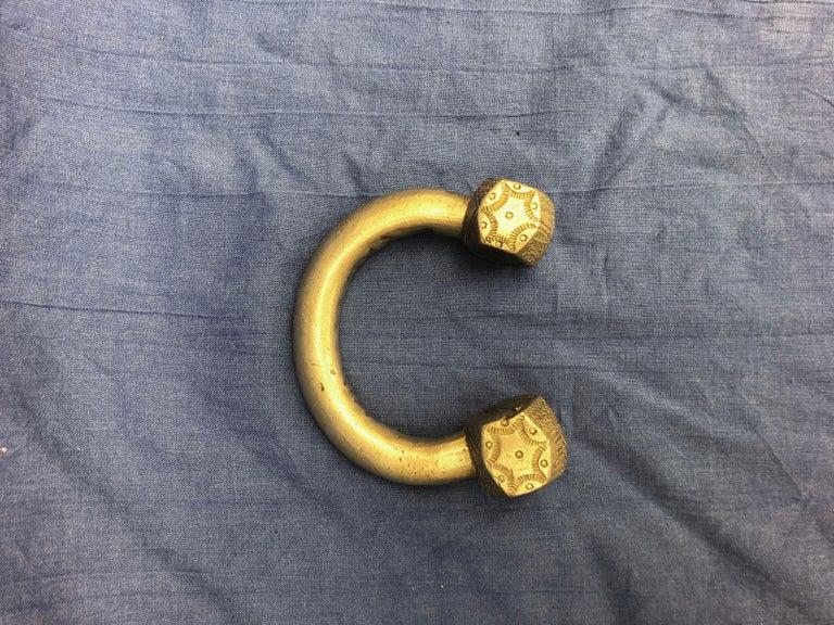 Tribal Antique Handmade Moroccan Slave Bracelet, Heavy Etched Silver Melange For Sale