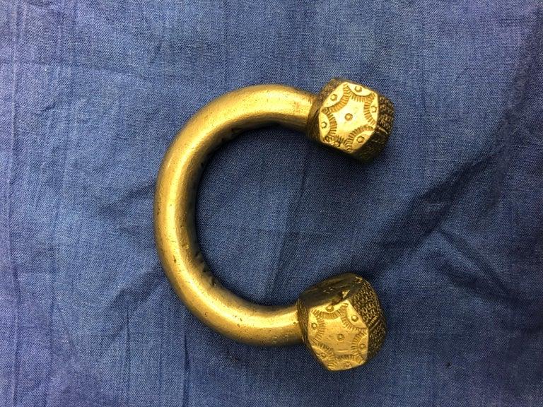 Antique Handmade Moroccan Slave Bracelet, Heavy Etched Silver Melange For Sale 1