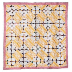 """Antique Handmade Patchwork """"Double Nine Patch"""" Quilt In Cotton, USA, 1870's"""