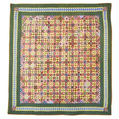"Antique Handmade Patchwork ""Economy Patch"" Quilt In Multicolor, USA 1880's"