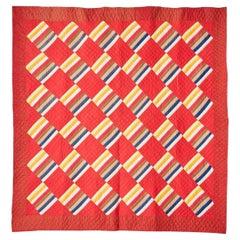 "Antique Handmade Patchwork ""Joseph's Coat Variation"" Quilt in Red, USA, 1880's"