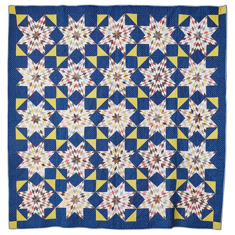 "Antique Handmade Patchwork ""Mennonite Blazing Stars"" Quilt in Cotton, USA 1880s"