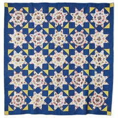 "Antique Handmade Patchwork ""Mennonite Blazing Stars"" Quilt In Cotton, USA 1880s"