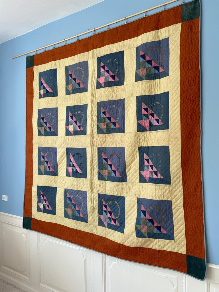 American Antique Handmade Patchwork Quilt Decorated with Colorful Baskets, USA, 1920's For Sale