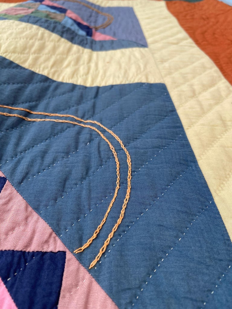 Antique Handmade Patchwork Quilt Decorated with Colorful Baskets, USA, 1920's For Sale 1