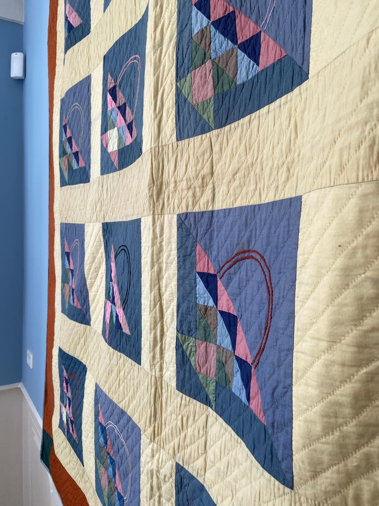 Antique Handmade Patchwork Quilt Decorated with Colorful Baskets, USA, 1920's For Sale 2