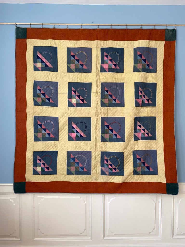 Antique Handmade Patchwork Quilt Decorated with Colorful Baskets, USA, 1920's For Sale 3