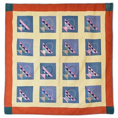 Antique Handmade Patchwork Quilt Decorated with Colorful Baskets, USA, 1920's