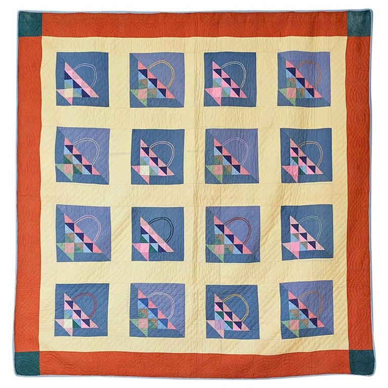 Antique Handmade Patchwork Quilt Decorated with Colorful Baskets, USA, 1920's For Sale