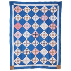 Antique Handmade Patchwork Quilt in Blue, White and Pink, USA, 1880s