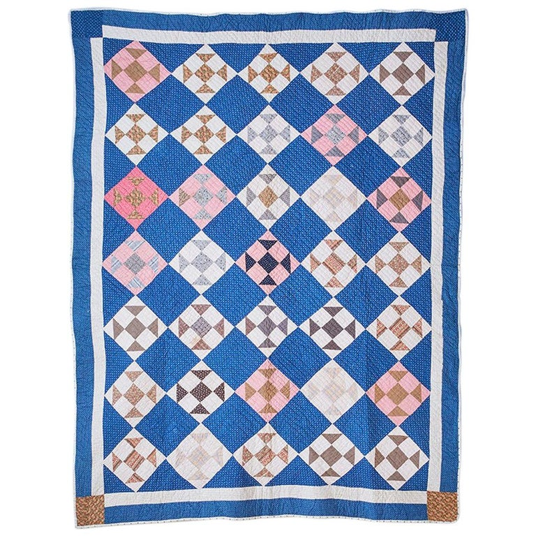Antique Handmade Patchwork Quilt in Blue, White and Pink, USA, 1880s For Sale