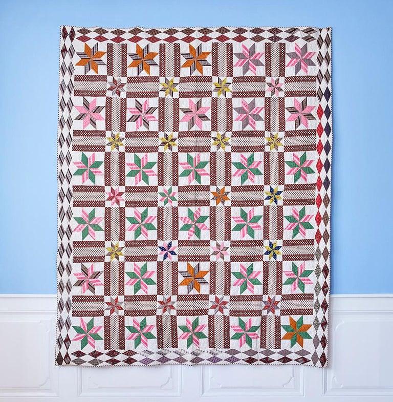 "USA, 1870s  ""LeMoyne Stars"" antique quilt.  H 230 x W 186 cm"