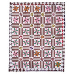 "Antique Handmade Patchwork Quilt ""Lemoyne Stars"" in Multi Colors, USA 1870s"