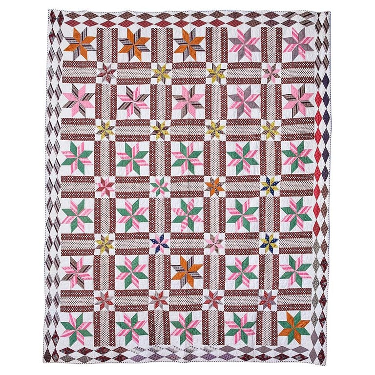 "Antique Handmade Patchwork Quilt ""Lemoyne Stars"" in Multi Colors, USA 1870s"