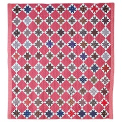 "Antique Handmade Patchwork ""Sawtooth Star"" Quilt in Red and White, USA, 1880s"