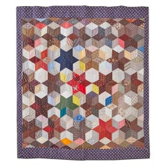 """Antique Handmade Patchwork """"Six Point Stars Charm"""" Quilt, USA Late 19th-Century"""