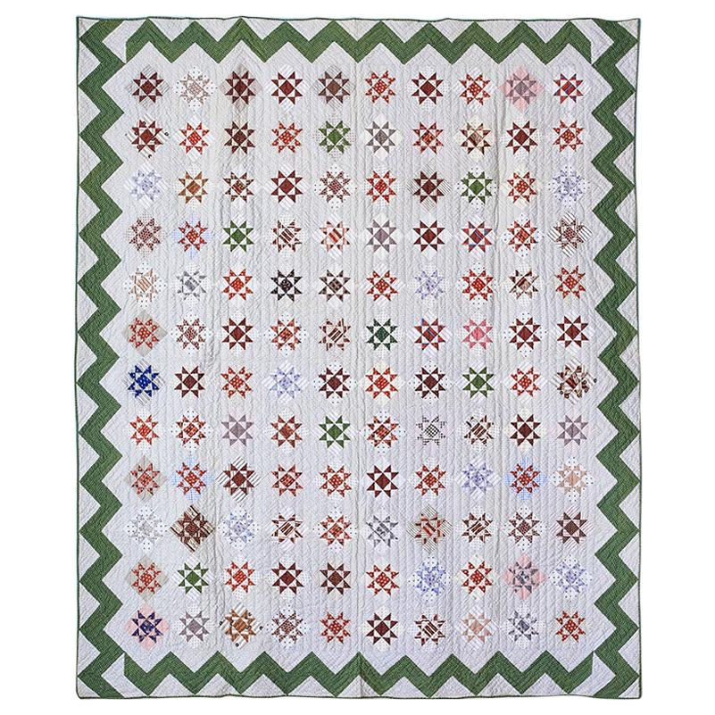 """Antique Handmade Patchwork """"Variable Stars"""" Quilt with Zigzag Border, USA, 1888"""