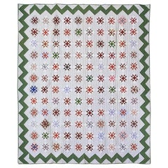 "Antique Handmade Patchwork ""Variable Stars"" Quilt with Zigzag Border, USA, 1888"