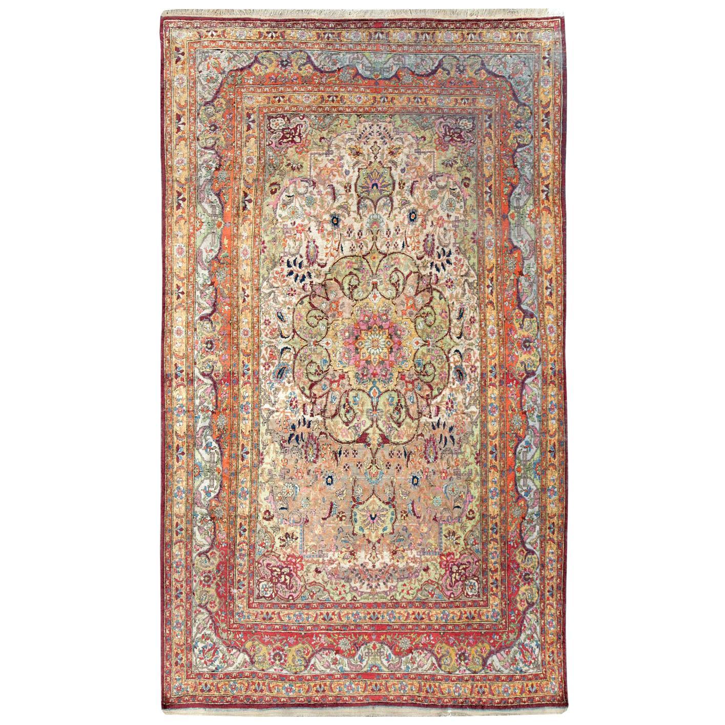 Antique Handmade Persian Silk Kashan Accent Rug