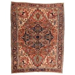 Antique Handmade Serapi Heriz Persian Rug