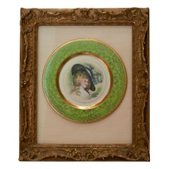 Antique Handpainted Osborne China Plate Mounted in Gold Gilt Carved Wood Frame