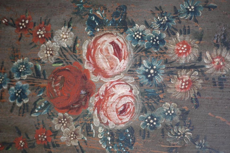 Folk Art Early 19th Century Antique Floral Hand Painted Two Doors Wardrobe For Sale