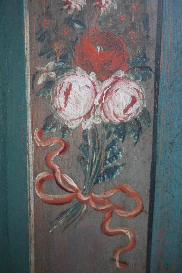 Italian Early 19th Century Antique Floral Hand Painted Two Doors Wardrobe For Sale