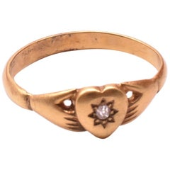 Antique Hands and Heart Ring with Star Diamond