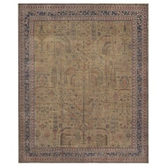 Antique Handwoven Wool Oushak Rug